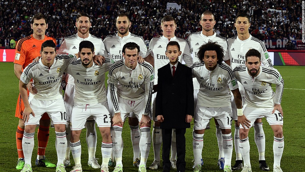The stars line up. Real Madrid's players pose with Morocco's Prince Moulay Hassan before the FIFA Club World Cup final against San Lorenzo at the Marrakesh stadium.