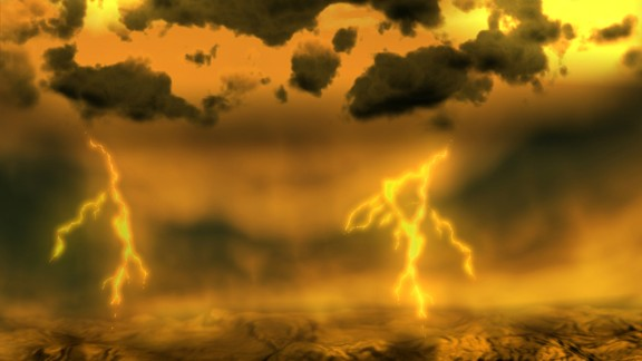 Venus has a surface temperature hot enough to melt lead and its atmospheric pressure is the equivalent of diving a mile underwater. This artist's impression shows a lighting storm seen from the planet's atmosphere.