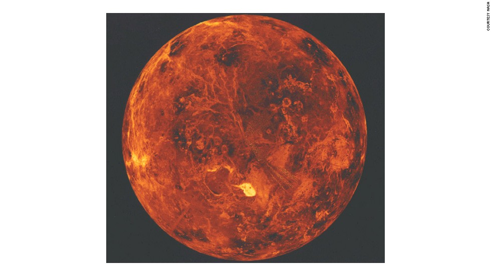 The Magellan probe orbited Venus from 1990 to 1994 and peered through the clouds: this image was created by emitting and re-detecting cloud-penetrating radar.