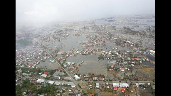 An aerial shot taken on January 8, 2005, shows flooding and devastation to the west of Aceh in Banda Aceh. Aceh was the worst hit location, being the closest major city to the epicenter of the 9.1 magnitude quake.