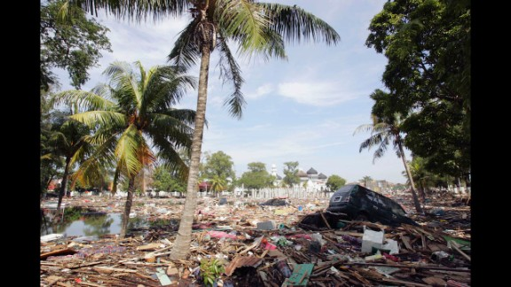 A general view of the devastation seen in Banda Aceh on December 28, 2004.