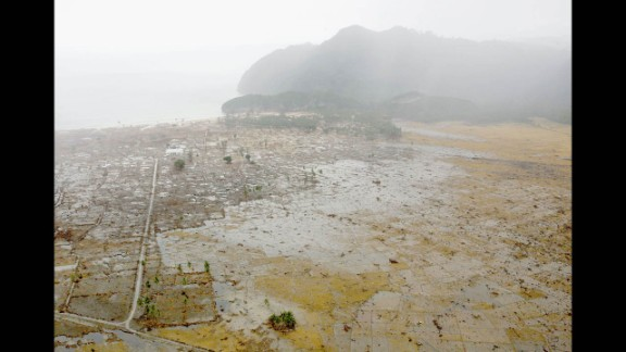 Coastal flooding in western Aceh on January 8, 2005.