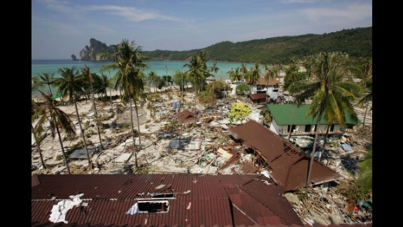 Shops, restaurants and bungalows reduced to rubble in Ton Sai Bay on December 28, 2004.