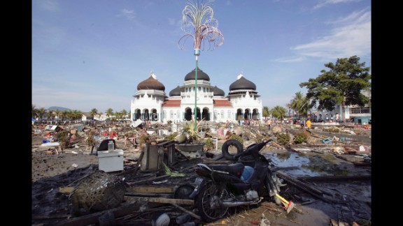 Devastation surrounds the Grand Mosque in Banda Aceh on December 28, 2004.