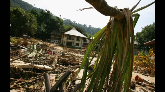 A view of the destruction at the Wannaburee Resort on December 30, 2004, in Khao Lak, Thailand.