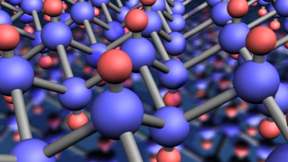 Since its discovery, graphene has spawned many associated products and applications. Pictured is the molecular structure of a graphene crystal - a novel two-dimensional material obtained from graphene (a monolayer of carbon atoms) by attaching hydrogen atoms (red) to each carbon atoms (blue) in the crystal.
