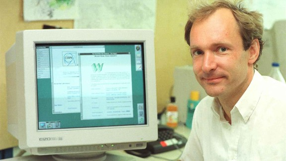 Berners-Lee with a web-connected computer, 1994.