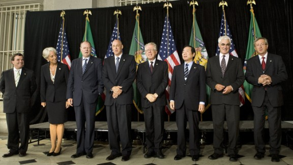 In 2007, the mother of two became Finance and Economy Minister for France, making her the first woman to adopt this position in a G7 country.   In this picture she stands with her fellow G7 finance ministers in Washington DC.  From left to right: James Flaherty of Canada, Christine Lagarde of France, Peer Steinbruck of Germany, Henry Paulson of the United States, Tommaso Padoa-Schioppa of Italy, Fukushiro Nukaga of Japan, Alistair Darling of the United Kingdom, and Jean-Claude Juncker of the Eurogroup.