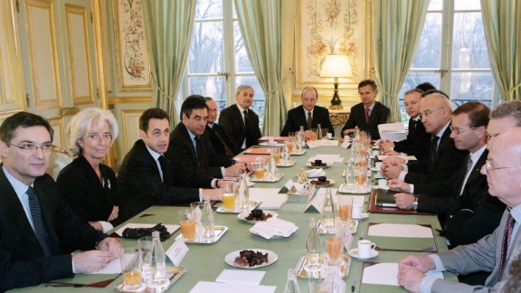 Lagarde was named the best Minister of Finance in the Eurozone in 2009, by the Financial Times.   Here she sits with Patrick Devedjian, French President Nicolas Sarkozy and French Prime Minister Francois Fillon to meet with French businessmen at the Elysee Palace in Paris in 2009.