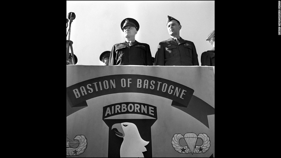 U.S. Gen. Dwight D. Eisenhower, supreme commander of Allied forces in Europe, speaks to the 101st Airborne Division.
