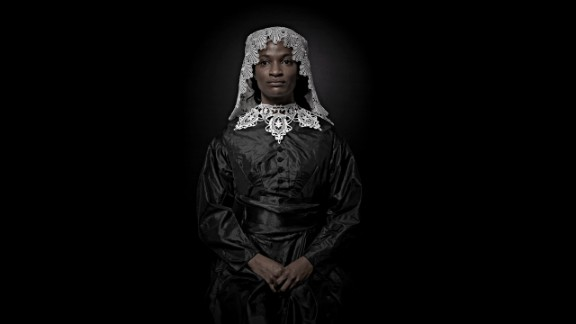 Helfman's photographs are often loaded with implied questions about race and gender.
