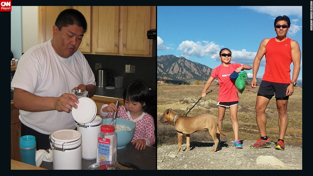 "<a href=""http://www.cnn.com/2014/09/15/health/irpt-weight-loss-yusuke-kirimoto/"">Yusuke Kirimoto</a>, pictured here with his daughter in 2010 and 2014, dropped 100 pounds. He drastically cut his sugar and carbohydrate intake six days a week, allowing himself one cheat day, and gradually added exercise. In 2014, he overcame his fear of swimming to complete his first triathlon."