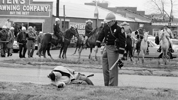 Dallas County Sheriff Jim Clark's posse used tear gas, clubs, whips and ropes to turn back the demonstrators. Images of beaten and bloodied men, women and teenagers shocked the nation.