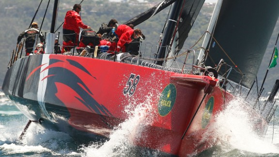 U.S. supermaxi Comanche cuts through the waters soon after the start of the race on Boxing Day. It made a flying start.