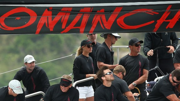 Kristy Hinze-Clark on board Comanche during the Big Boat Challenge in Sydney Harbor on December 9.