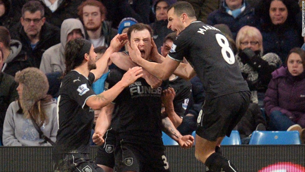A funny thing happened on the way to three points for Man City. Ashley Barnes, middle, scored late in the second half as promoted Burnley rallied from 2-0 down to earn a point against the defending league champion.