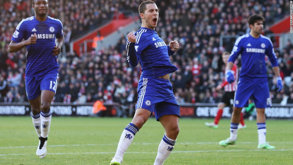 Eden Hazard scored for Chelsea. It was a rare away goal in the league for the Belgian.