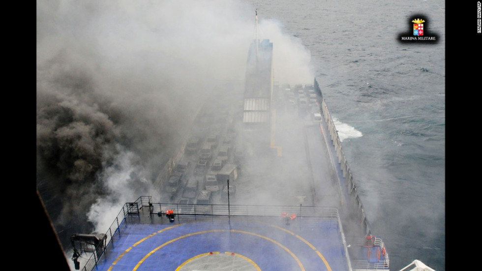 Smoke billows from the Norman Atlantic in the Adriatic Sea on Sunday, December 28, In this image released by the Italian Navy.