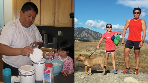 Yusuke Kirimoto, pictured here with his daughter in 2010 and 2014, dropped 100 pounds by cutting his sugar and carbohydrate intake and gradually adding exercise. Last year, he overcame his fear of swimming to complete his first triathlon.