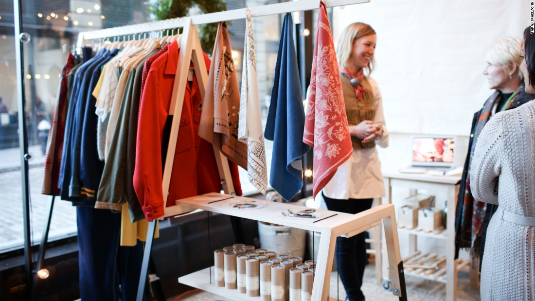 "The Nativen booth at ""Northern Grade Her"" also included a curated selection of vintage clothing."