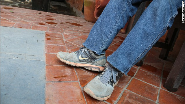 Hari Chaudhary still wears the shoes he wore when he got caught in the snowstorm in Annapurna.