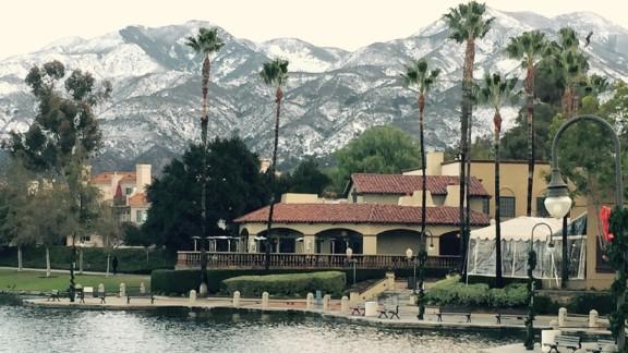 Snow can be seen at Rancho Santa Margarita, California.