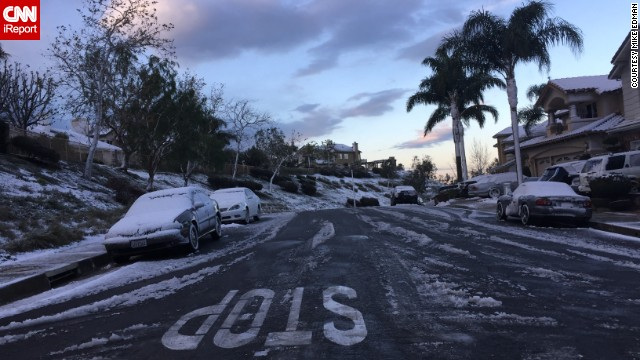 Snow joined palm trees in Orange County.