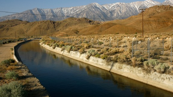 The Los Angeles Aqueduct carries snowmelt water from the Sierra Nevada mountains.