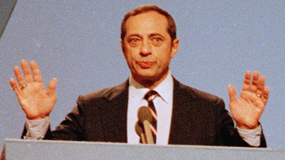 Cuomo delivers his keynote address to the Democratic National Convention on July 16, 1984, in San Francisco. The speech garnered Cuomo national attention and sparked talk of him making a presidential run. He later declined to run.