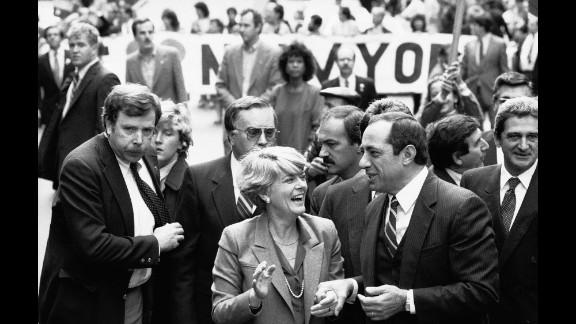 Democratic vice presidential candidate Geraldine Ferraro and New York Gov. Mario Cuomo march in New York