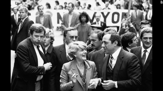 Democratic vice presidential candidate Geraldine Ferraro and New York Gov. Mario Cuomo marchin New York's Columbus Day parade on October 9, 1984.