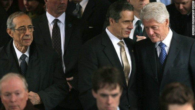 Former New York Gov. Mario Cuomo is far left, followed by New York Gov. Andrew Cuomo and former President Bill Clinton in 2013.