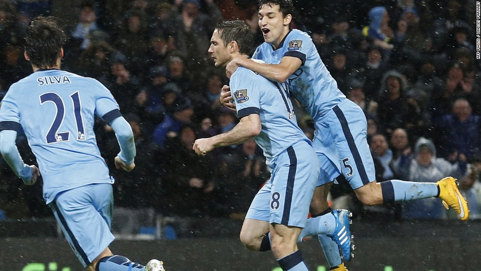 The goals of Frank Lampard, middle, have been crucial for Man City this season. The former Chelsea stalwart came off the bench to score the winner against Sunderland.