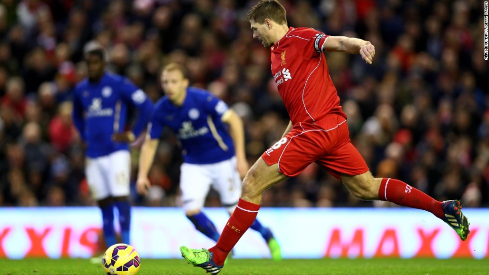 Liverpool's Steven Gerrard converted two penalties in Thursday's 2-2 draw at Anfield versus Leicester. This was Gerrard's last outing during the Premier League's festive period, since he will be leaving the league at the end of the season.