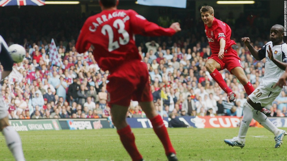 Gerrard has put in dozens of match-winning performances for Liverpool down the years and often on the biggest stages. Here he can be seen belting home a last-minute equalizer in the 2006 FA Cup final against West Ham. The goal took the game to extra time which Liverpool eventually won on penalties.