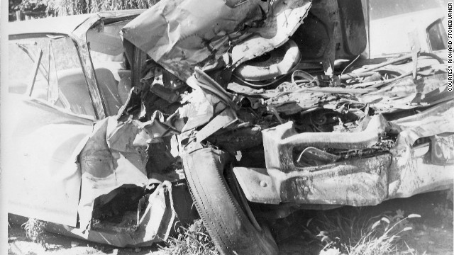 A picture from Arthur Lampitt's crash scene in 1963.