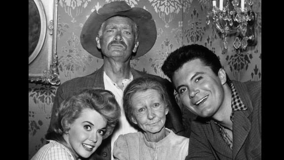 """The cast of """"The Beverly Hillbillies"""": Clockwise from top, Buddy Ebsen, Max Baer Jr., Irene Ryan and Donna Douglas."""