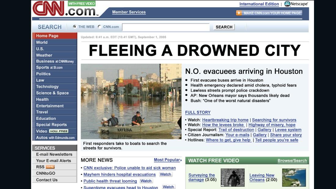 CNN's homepage through the years