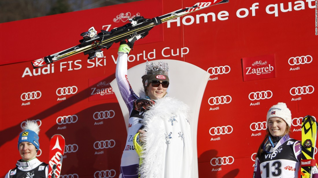 "Mikaela Shiffrin was crowned ""Snow Queen"" of slalom skiing after triumphing in Sunday's World Cup race in Zagreb, Croatia."