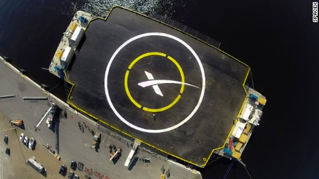 'X' marks the spot for the Falcon 9 landing site.