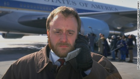 Paul Begala, White House aide to President Bill Clinton, in front of Air Force One in 1993 during a campaign trip for the president's economic package.