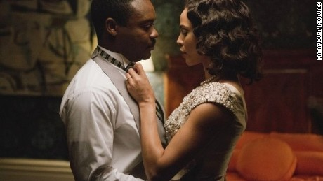 "David Oyelowo stars as Martin Luther King Jr. and Carmen Ejogo stars as Coretta Scott King in ""Selma."""