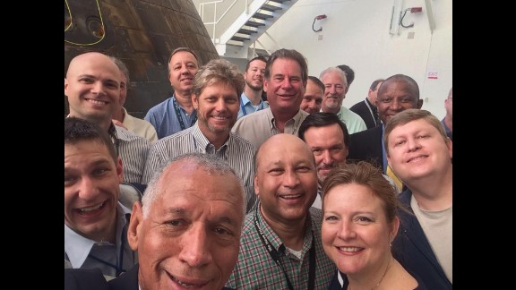 """NASA Administrator Charles Bolden, bottom left, """"inspects the @NASA_Orion spacecraft & takes a #selfie with the employees who built & operated it,"""" <a href=""""https://twitter.com/NASA/status/552471806985396224/photo/1"""" target=""""_blank"""" target=""""_blank"""">according to a tweet</a> from NASA's official account on Tuesday, January 6. The Orion capsule -- part of America's bid to take crews beyond low-Earth orbit for the first time since the Apollo missions -- <a href=""""http://www.cnn.com/2014/12/05/tech/innovation/nasa-orion-launch/"""" target=""""_blank"""">splashed down in the Pacific Ocean last week</a> after lapping the planet twice on an unmanned test flight."""