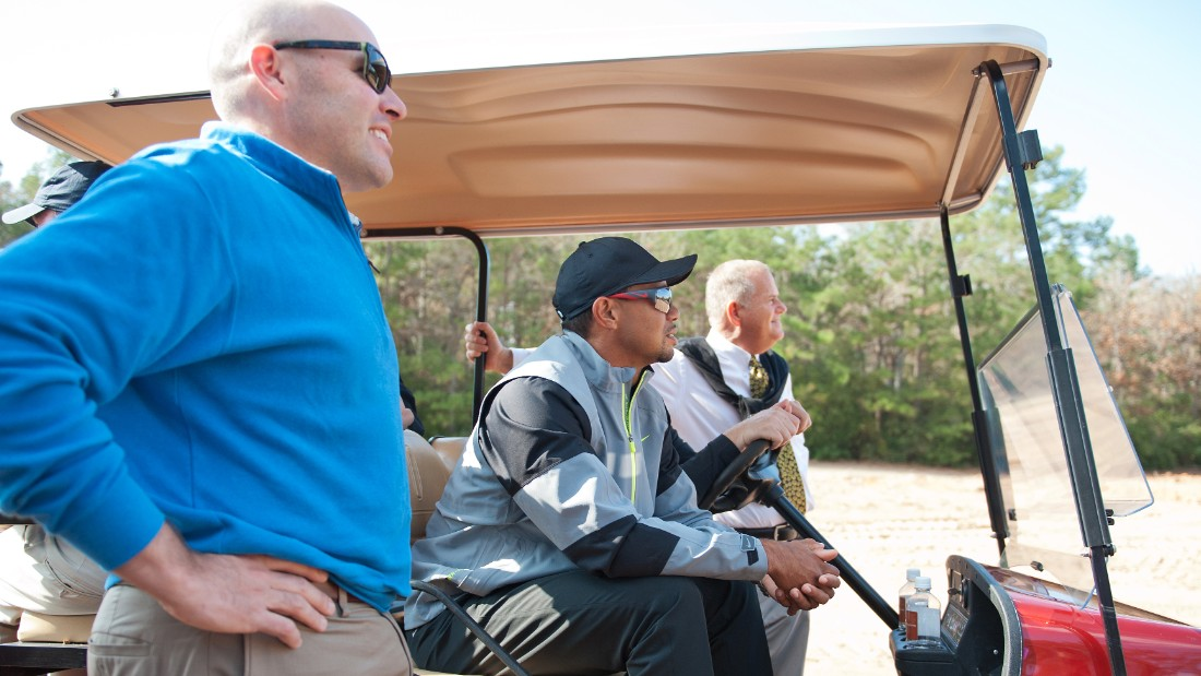 Bluejack National is being built by Beacon Land Development. One of its partners, Michael Abbott (far right) is a long-standing friend of Woods and says the golfer wants to share his ideas on design with the world and to take his kids, Charlie and Sam, to one of his own courses.