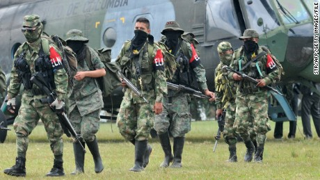 The ELN is Colombia's second-biggest leftist guerrilla group. Here some members arrive in Cali in 2013.