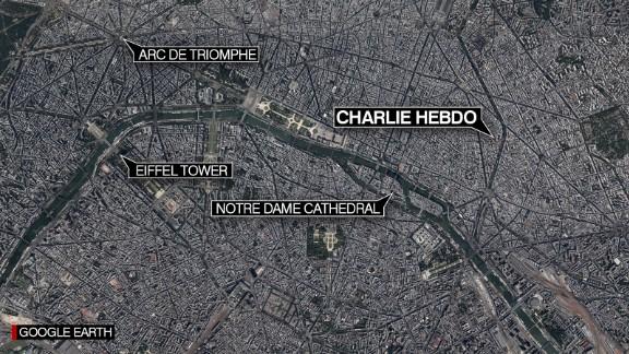 Map: Charlie Hebdo HQ, Paris