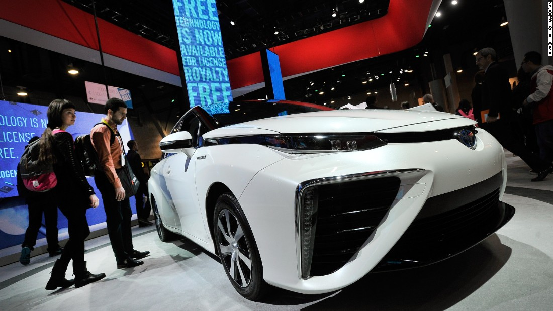 Tech expert Shelly Palmer writes for CNN from consumer tech show CES, in Las Vegas. Pictured, the Toyota Mirai fuelcell car. At CES Toyota announced it will share almost 6,000 of its patents on hydrogen fuel cell technology.