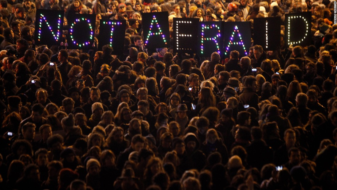 People gather in Paris on January 7.