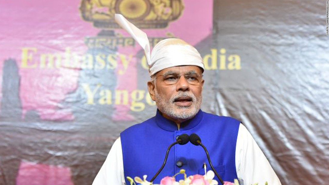 "Even in foreign countries, the Indian leader is also seen adorning different hats. Here, Modi wears a traditional Gaung Baung, also known as a ""head wrap"" in Burmese. This headwear is worn as a part of traditional ceremony attire in Myanmar and represents a sign of rank and respect."