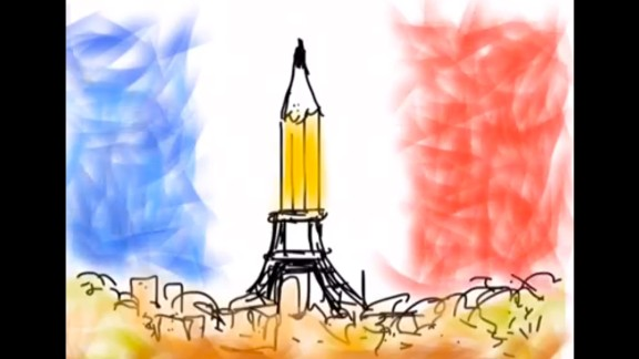 """""""Thinking of our friends across the waves,"""" CNN correspondent and cartoonist Tom Foreman wrote on Facebook with <a href=""""https://www.facebook.com/video.php?v=623325321106165&set=vb.558200580951973&type=2&theater"""" target=""""_blank"""" target=""""_blank"""">this animated illustration</a>."""